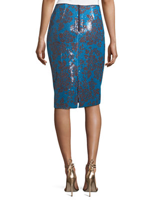 Image 2 of 2: Tailored Floral-Print Pencil Skirt