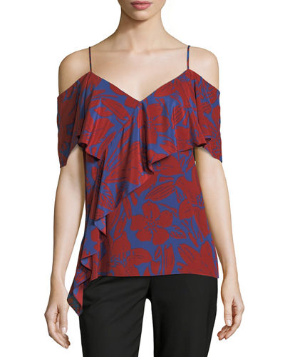 Cold-Shoulder Silk Ruffle Blouse