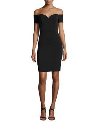 Badgley Mischka Off-the-Shoulder Crepe Cocktail Sheath Dress