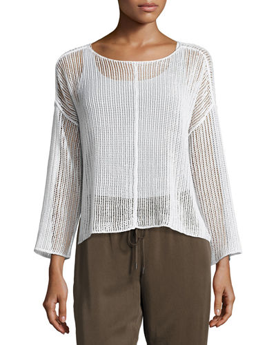 Eileen Fisher Bracelet-Sleeve Knit Mesh Top