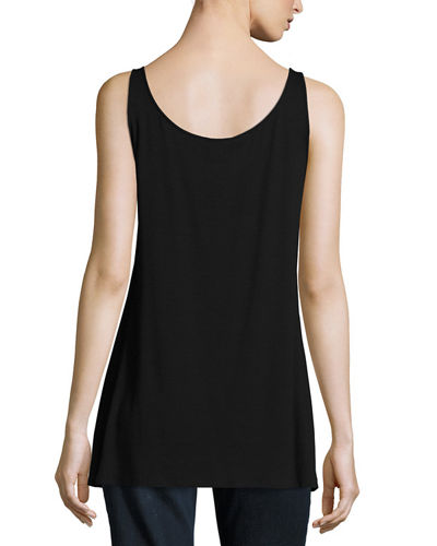 Eileen Fisher Petite Sleeveless Scoop-Neck Lightweight Jersey Tank