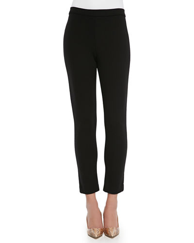 Joan Vass Cold-Shoulder Long-Sleeve Top & Ponte Ankle