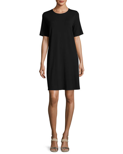 Eileen Fisher Round-Neck Jersey Shift Dress