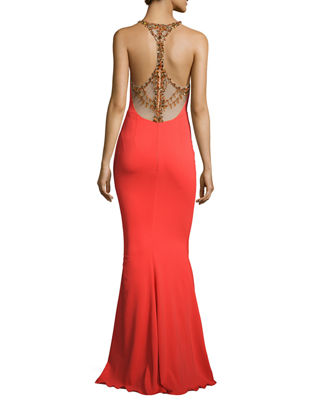 Image 2 of 5: Sleeveless Stretch Crepe Beaded-Back Gown