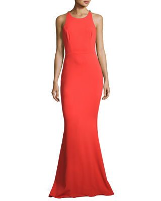 Image 1 of 5: Sleeveless Stretch Crepe Beaded-Back Gown