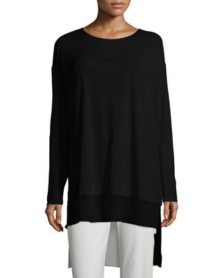 Long-Sleeve Layered Silk Tunic