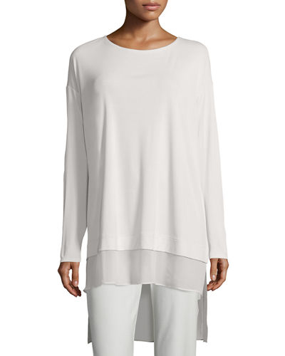 Eileen Fisher Long-Sleeve Layered Silk Tunic, Petite
