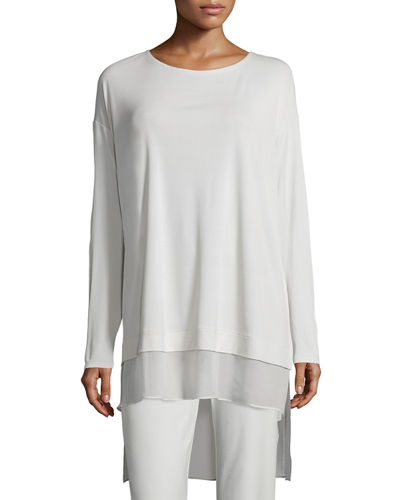 Eileen Fisher Long-Sleeve Layered Silk Tunic, Plus Size