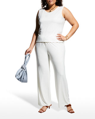 Image 1 of 2: Stretch-Knit Straight-Leg Pants, Plus Size