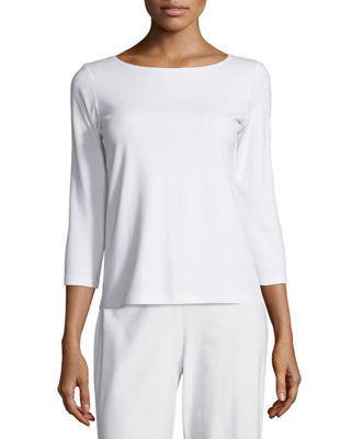 Eileen Fisher 3/4-Sleeve Cotton Tee, Plus Size