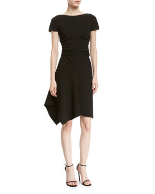 Short-Sleeve Boat-Neck Dress w/ Waist Gathers