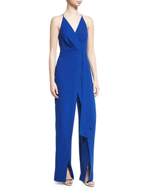 Halston Heritage Sleeveless Faux-Wrap Stretch Crepe Jumpsuit