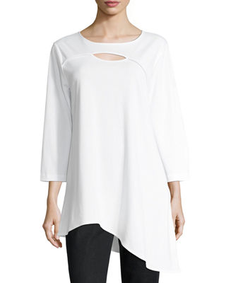 Image 1 of 4: Yoke-Cutout Asymmetric Easy Tunic