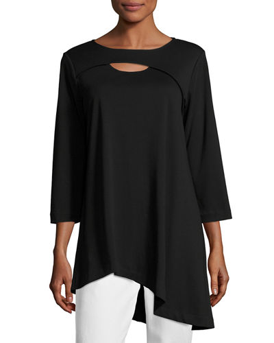 Yoke-Cutout Asymmetric Easy Tunic, Plus Size