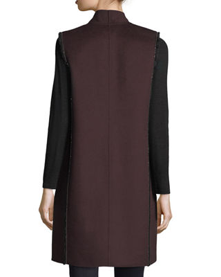 Image 3 of 3: Luxury Chain-Trim Double-Face Cashmere Vest