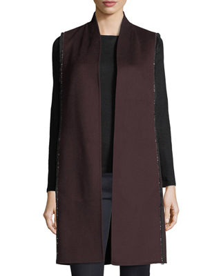 Image 1 of 3: Luxury Chain-Trim Double-Face Cashmere Vest