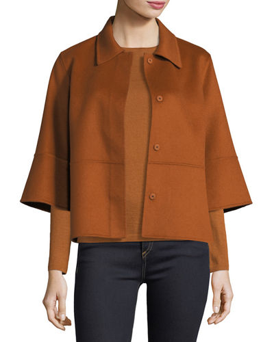 Luxury Kimono-Sleeve Double-Face Cashmere Cropped Jacket