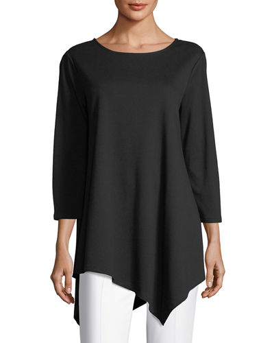 Plus Size 3/4-Sleeve Asymmetric Tunic