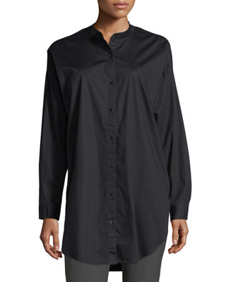 Eileen Fisher Mandarin-Collar Stretch-Lawn Button-Front Shirt