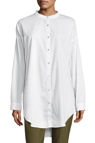 Eileen Fisher Petite Mandarin-Collar Stretch-Lawn Button-Front Shirt