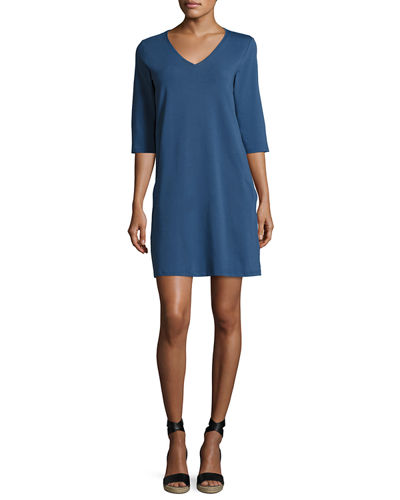 3/4-Sleeve V-Neck Jersey Shift Dress, Plus Size