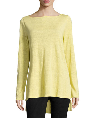 Eileen Fisher Bateau-Neck Organic Linen Jersey Top and