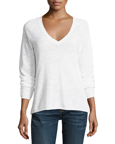 V-Neck Organic Linen/Cotton-Blend Slub Top