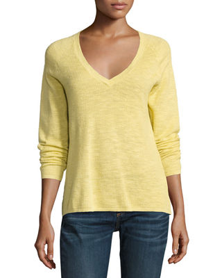 Image 1 of 2: V-Neck Organic Linen/Cotton-Blend Slub Top, Petite