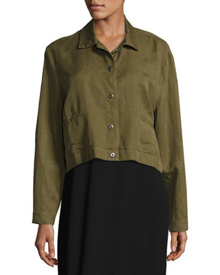 Image 3 of 3: Lightweight Cropped Button-Front Jacket
