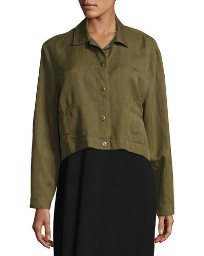 Lightweight Cropped Button-Front Jacket