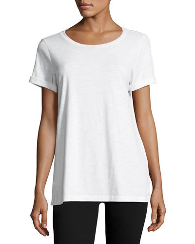 Eileen Fisher Short-Sleeve Slubby Jersey Tee, Plus Size