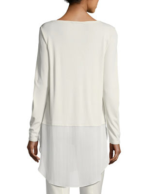 Image 2 of 4: Long-Sleeve Silk Jersey Tunic w/ Sheer Layer, Petite