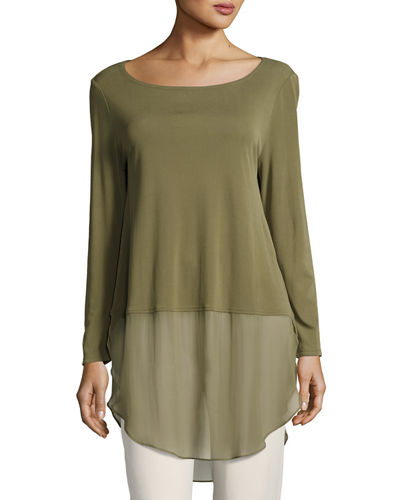 Petite Long-Sleeve Silk Jersey Tunic w/ Sheer Layer