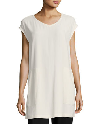 Eileen Fisher V-Neck Silk Georgette Crepe Tunic w/
