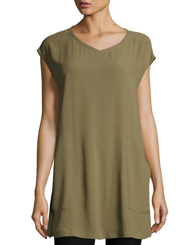 V-Neck Silk Georgette Crepe Tunic w/ Pockets