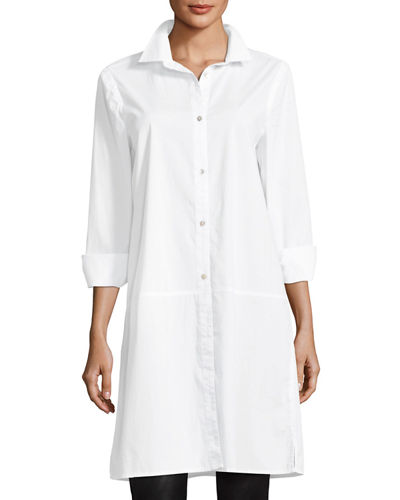 Eileen Fisher Long-Sleeve Stretch-Cotton Lawn Shirtdress, Plus