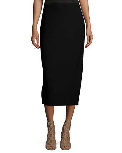 Washable Silk/Cotton Midi Pencil Skirt, Petite