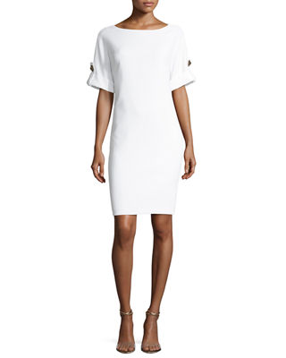 Badgley Mischka Platinum Short-Sleeve Stretch Jersey Cocktail