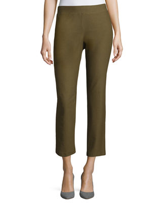 Washable Crepe Slim-Leg Ankle Pants, Plus Size