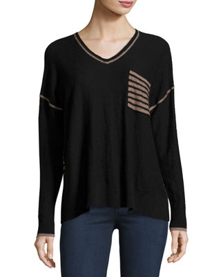 Long-Sleeve Slouchy Striped-Back Top