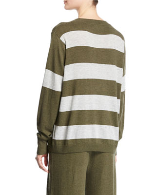 Image 3 of 3: Long-Sleeve Striped Pullover Top, Plus Size