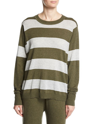 Minnie Rose Long-Sleeve Striped Pullover Top, Plus Size
