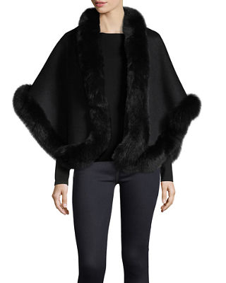 Luxury Double-Faced Cashmere Short Cape w/ Fox Fur Trim