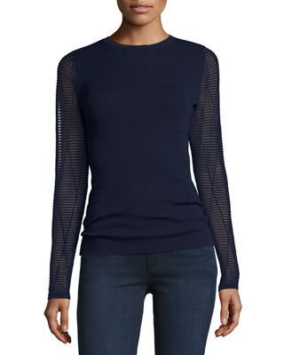 Superfine Ottoman Ribbed-Sleeve Cashmere Sweater