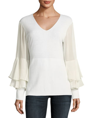Neiman Marcus Cashmere Collection Chiffon Ruffle-Sleeve V-Neck