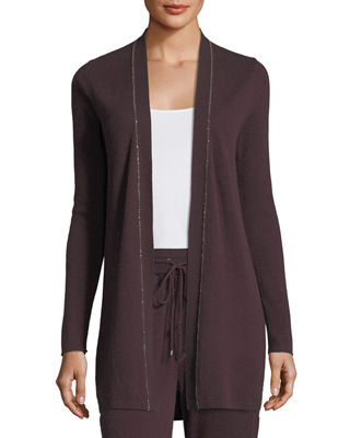 Neiman Marcus Cashmere Collection Chain-Trim Cashmere Duster