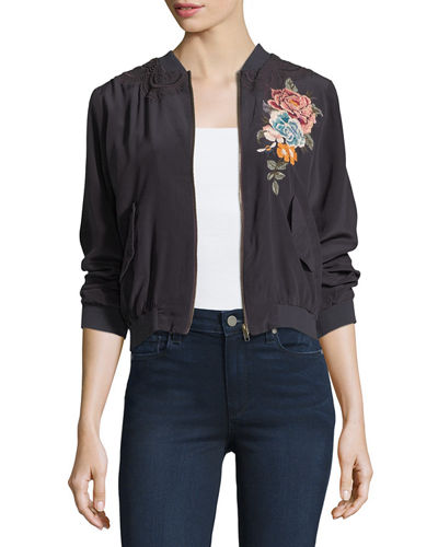 Johnny Was Alice Silk Crepe Embroidered Bomber Jacket,
