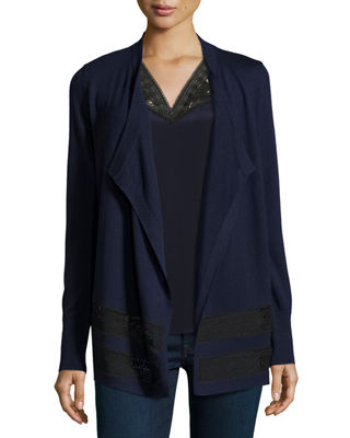Image 1 of 2: Hana Lace-Trim Draped Merino Cardigan