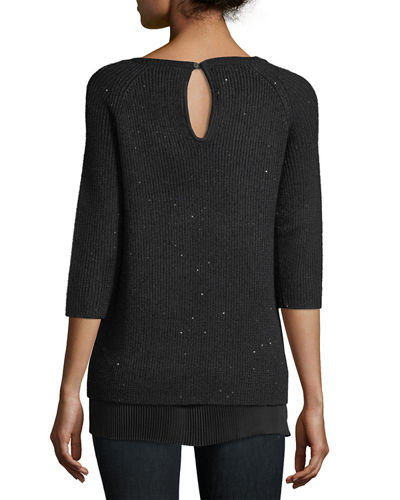 Sequin Cashmere Crewneck w/ Pleated Hem