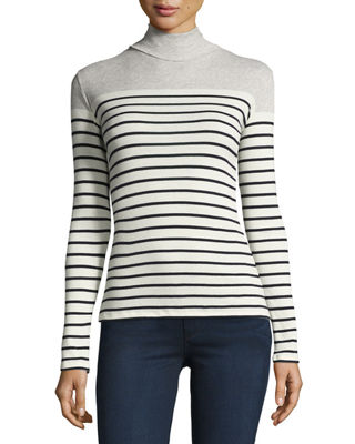 Majestic Paris for Neiman Marcus Striped Cotton Turtleneck